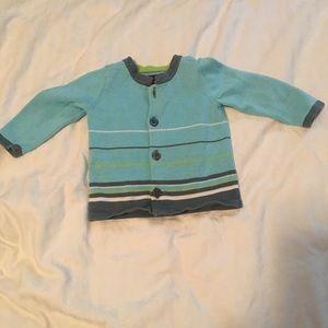 Tea Collection aqua striped sweater 6-12 Month EUC